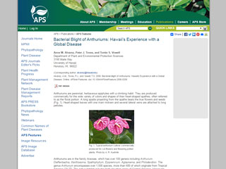 Bacterial Blight of Anthuriums: Hawaii's Experience with a Global Disease